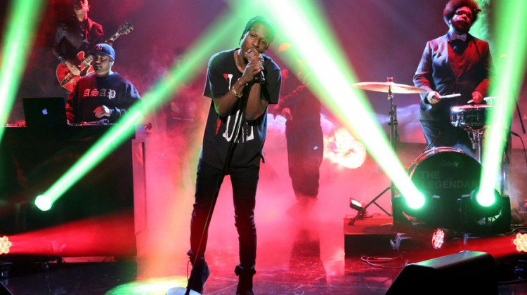 THE TONIGHT SHOW STARRING JIMMY FALLON -- Episode 0278 -- Pictured: Musical guest ASAP Rocky performs with The Roots on June 11, 2015 -- (Photo by: Douglas Gorenstein/NBC)